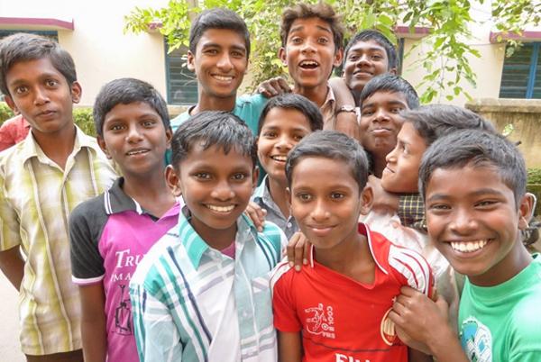 Eager boys happy to get their photo taken