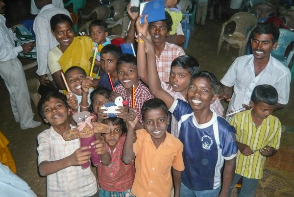 Happy children with gifts
