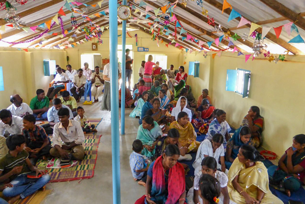 Colourful rural church service