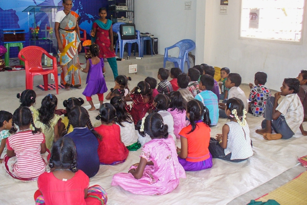 Indian children attending holiday bible school