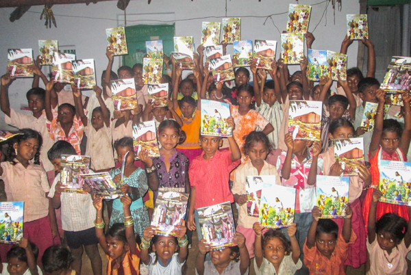 IndianVillage children with gifts at holiday bible club