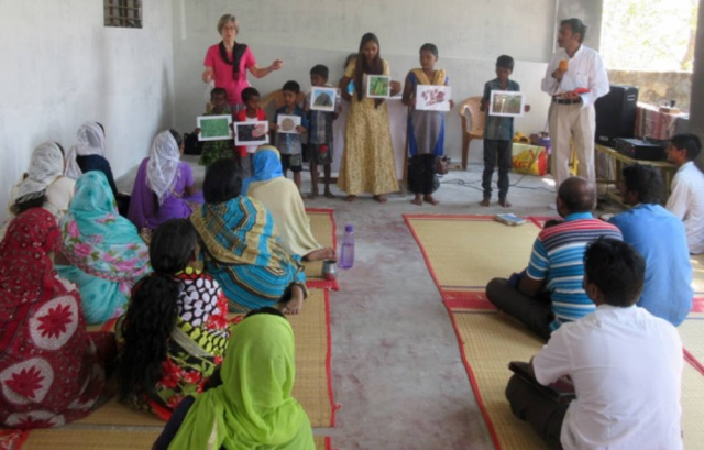 Children's talk being given during a Sunday church service