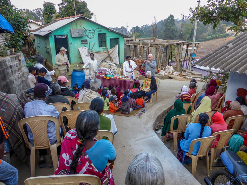 Tribal service held at hill top location in rural India