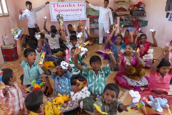 Grateful orphans saying thank you for their gifts