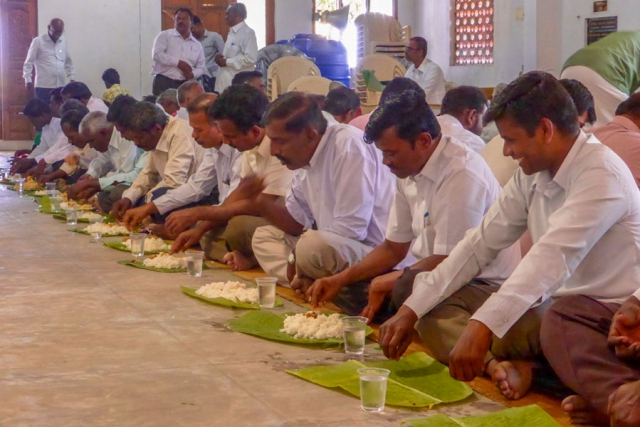 Pastors eating their meal after conference