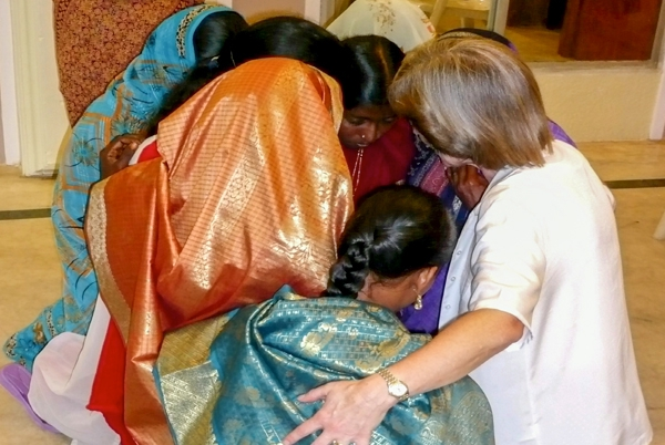 Ladies gathered for prayer after conference