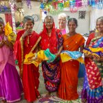 widows, receiving saris